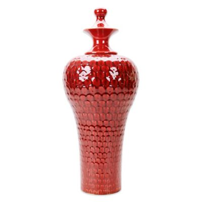 Howard Elliot® Scalloped Textured Large Scarlet Urn in Red
