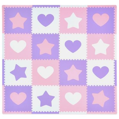 Tadpoles Hearts and Stars 16-Piece Playmat Set in Pink/Lavender