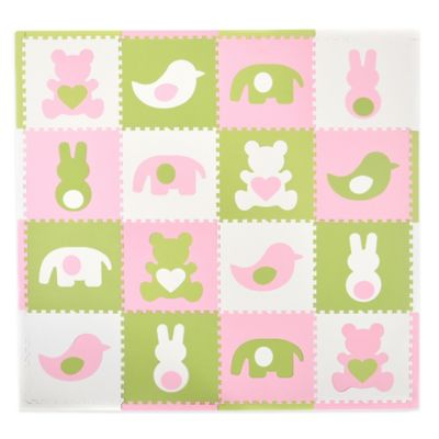 Tadpoles Teddy & Friends 16-Piece Playmat Set in Pink/White/Green