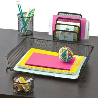 Buy mesh desk organizer 4 piece set in silver from bed - Desk organizer sets ...