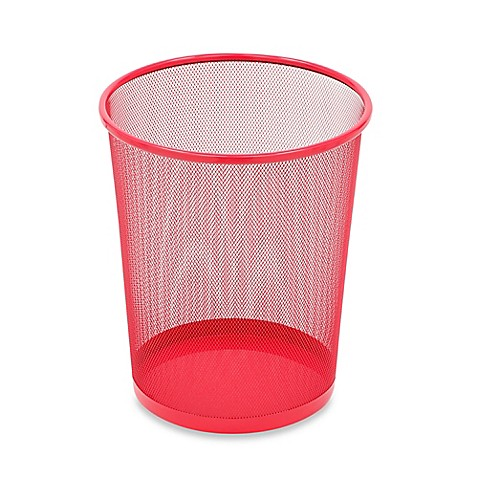 Mesh Metal Wastebasket in Red