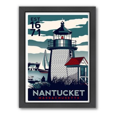 Americanflat Nantucket Lighthouse Blue Digital Print Wall Art