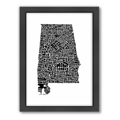 Americanflat Alabama Typography Map Digital Print Wall Art in Black and White
