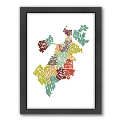 Americanflat Boston Typography Map Digital Print Wall Art in Black and White