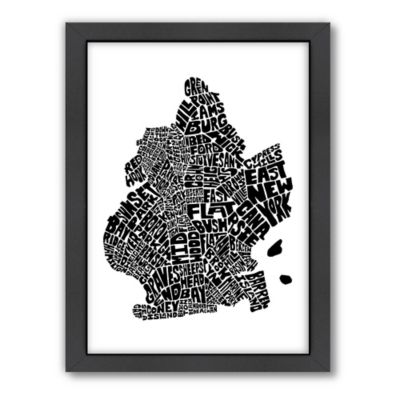 Americanflat Brooklyn Typography Map Digital Print Wall Art in Black and White