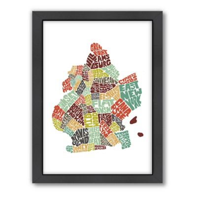 Americanflat Brooklyn Typography Map Digital Print Wall Art in Color