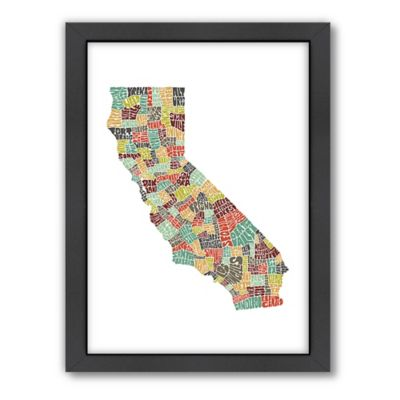 Americanflat California Typography Map Digital Print Wall Art in Color