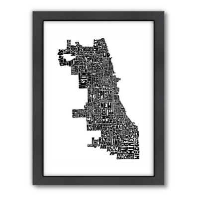 Americanflat Chicago Typography Map Digital Print Wall Art in Black and White