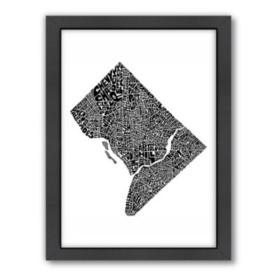 Americanflat Washington, D.C..Typography Map Digital Print Wall Art in Black and White