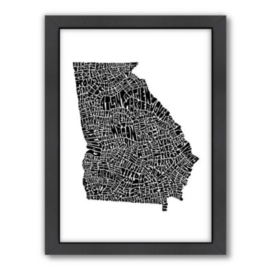 Americanflat Georgia Typography Map Digital Print Wall Art in Black and White