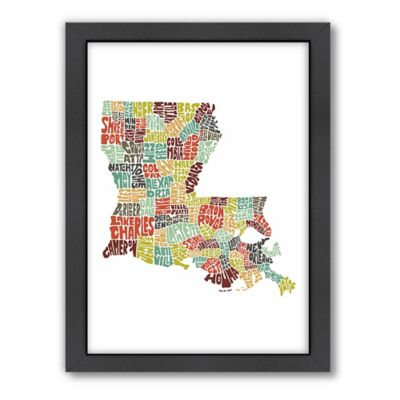 Americanflat Louisiana Typography Map Digital Print Wall Art in Color