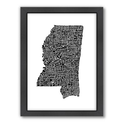 Americanflat Mississippi Typography Map Digital Print Wall Art in Black and White