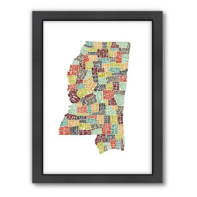 Americanflat Mississippi Typography Map Digital Print Wall Art in Color
