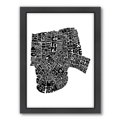 Americanflat New Orleans Typography Map Digital Print Wall Art in Black and White