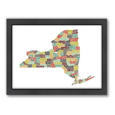 Americanflat New York City Typography Map Digital Print Wall Art in Color