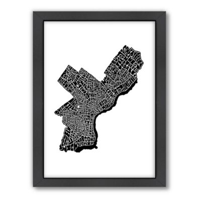 Americanflat Philadelphia Typography Map Digital Print Wall Art in Black and White