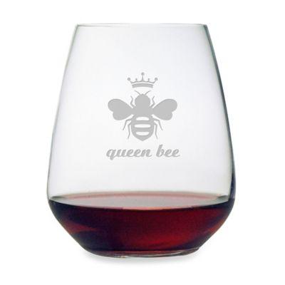 "Etched Novelty Barware ""Queen Bee"" Stemless Wine Glass"