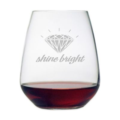 "Etched Novelty Barware ""Shine Bright"" Stemless Wine Glass"