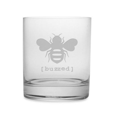 "Etched Novelty Barware ""Buzzed"" Rocks Glass"