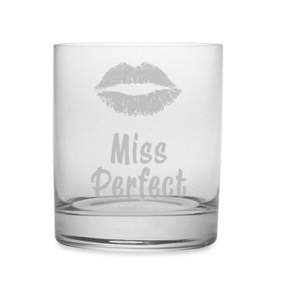 "Etched Novelty Barware Miss Perfect"" Rocks Glass"