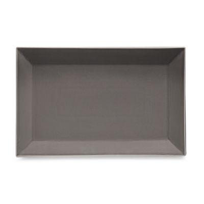 Real Simple® Rectangular Rim Serving Platter in Smoke