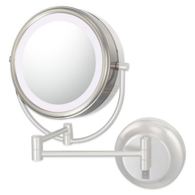 Neo-Modern LED Mirror Optional 7X Replacement Lens in Polished Nickel