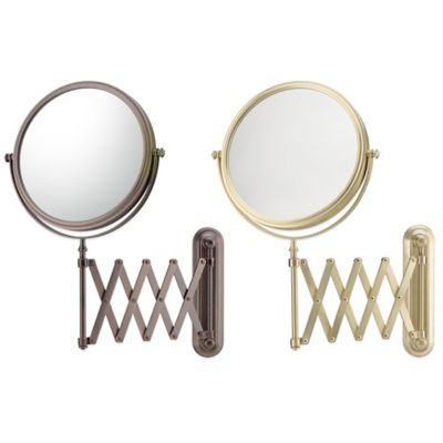 5X/1X Extension Arm Wall Mirror in Brushed Brass