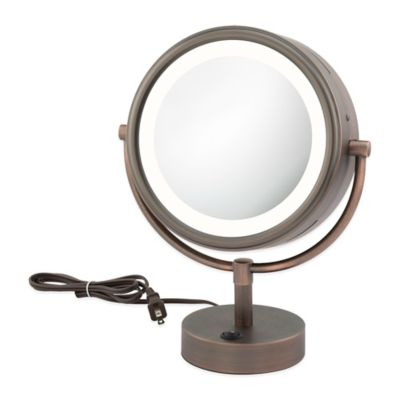 Neo Modern Double Sided 1x 5x Led Vanity Mirror In Bronze