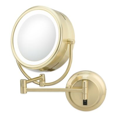 Neo-Modern Double-Sided 1x/5x LED Wall Mirror in Brushed Brass