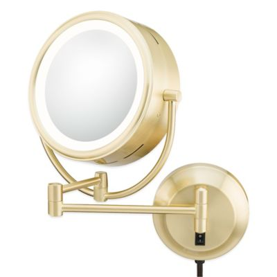 Kimball & Young Neo-Modern 5X/1X LED Double-Sided Wall Mirror in Brushed Brass