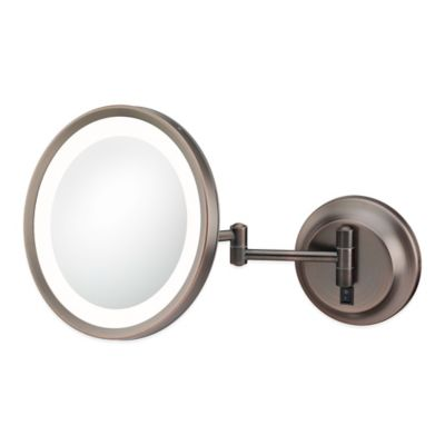 Kimball & Young 5X LED Single-Sided Round Wall Mirror in Bronze