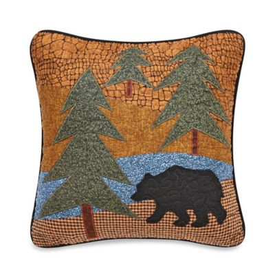 Midnight Bear Square Throw Pillow