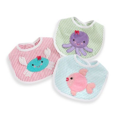 Baby Aspen 3-Piece Beach Buddies Girl's Bib Gift Set