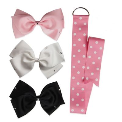 Baby Bella Maya™ 3-Pack Large Cheer Bow with Baby Pink Polka Dot Holder