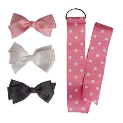 Baby Bella Maya™ 3-Pack Small Cheer Bow with Baby Pink Polka Dot Holder
