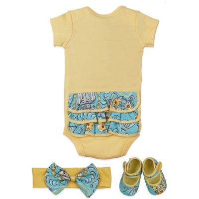 Baby Bella Maya™ Size 0-6M 3-Piece Bodysuit Set in Birdy 'N Bloom