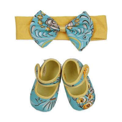 Baby Bella Maya™ Size 0-6M Bootie and Headband Set in Birdy 'N Bloom