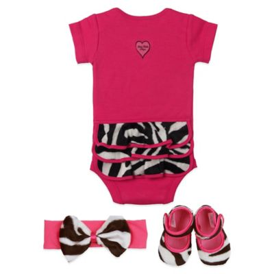 Baby Bella Maya™ Size 0-6M 3-Piece Bodysuit Set in Zoe Zebra