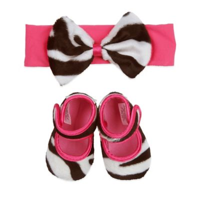 Baby Bella Maya™ Size 0-6M Bootie and Headband Set in Zoe Zebra