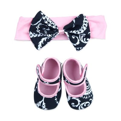 Baby Bella Maya™ Size 0-6M Bootie and Headband Set in Summer Dream