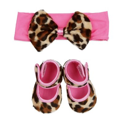 Baby Bella Maya™ Size 0-6M Bootie and Headband Set in Lollipop Leopard