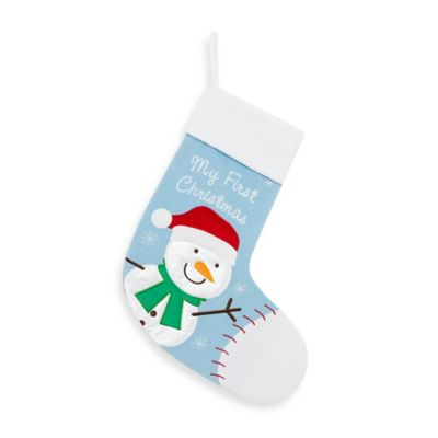 Snowman My First Christmas Stocking in Blue