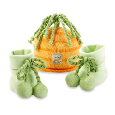 Baby Aspen Peas and Carrots Cap and Booties for Babies
