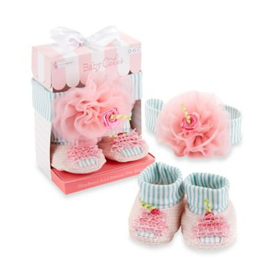 Baby Aspen Baby Cakes Cupcake Headband and Booties Gift Set