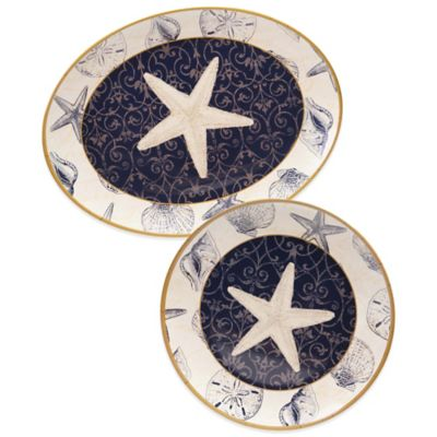 Certified International Coastal Moonlight 2-Piece Platter Set