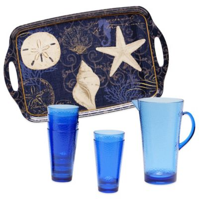 Certified International Coastal Moonlight 8-Piece Beverage Set