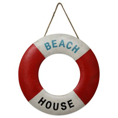 20-Inch Beach House Life Saver Metal Wall Art