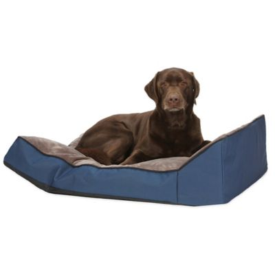 Kim Angled Bolster 22-Inch x 32-Inch Pet Bed in Blue/Grey