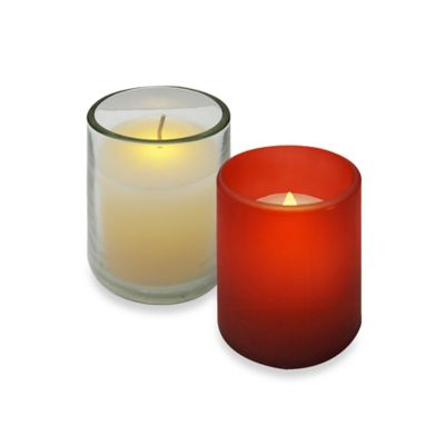 3-Inch Glass Flameless Votive Candle in Frosted Red (Set of 4)