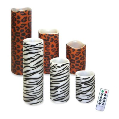 Flameless Candles with Remote Control in Zebra Print (Set of 3)
